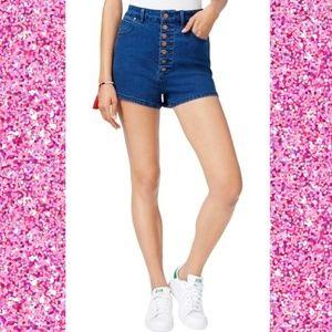 Rachel Roy Denim Shorts 7-Button High Rise Blue